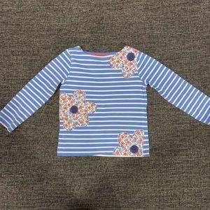 Mini Boden Striped Shirt with Flower Appliqués